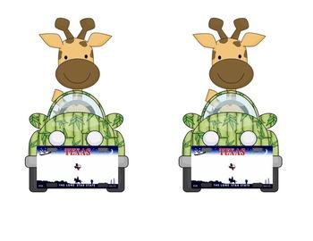 Texas Giraffe License Name Tag or Desk Tag