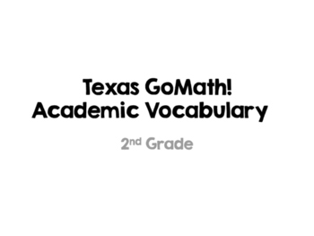 Texas GoMath Academic Vocabulary Grade 2