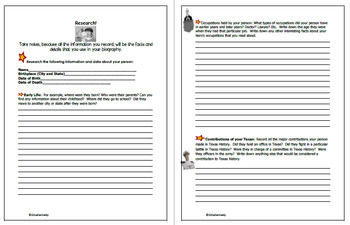 """Texas """"Hero"""" Biography Interactive Notebook, Step-By-Step Guide"""