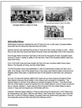 Texas History European Settlers Exploration  Unit! TEKS 4.2A,B,C,D,and F