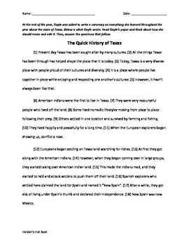 Texas History Expository STAAR Practice Editing and Revising Passages Pack