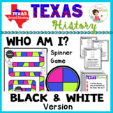 Texas History Famous People Game - Black & White Version