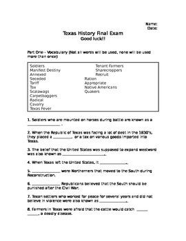 Texas History Final Exam