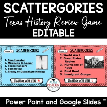 Texas History Review Game - HISTAGORIES!