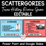 Texas History Review Game Scattergories Editable Distance Learning
