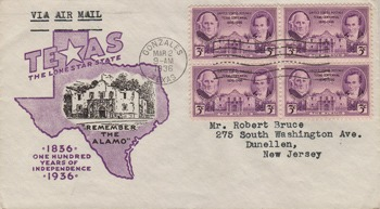 Texas History Lessons Using First Day Covers