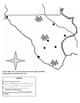 Texas History Geography - Mountains and Basins Activity
