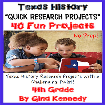 Texas History Projects, Research With a Twist! 4th Grade TEKS! Distance Learning