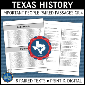 Texas History Paired Reading Passages