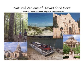 Texas History: Regions of Texas Card Sort