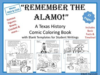 "Texas History: ""Remember the Alamo!"" Texas History Comic Coloring Book"