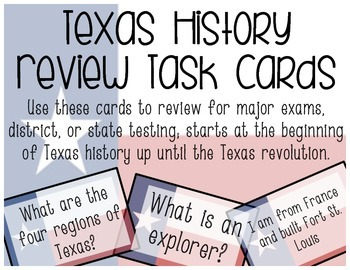 Texas History Review Task Cards
