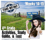 Texas History- Sam Houston, Stephen Austin-  Use with Texas Studies Weekly 14-15
