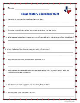Texas History Scavenger Hunt
