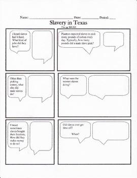 Texas History, Slavery in Texas History Cartoon Notes