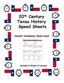 Texas History Speed Sheets: 20th Century