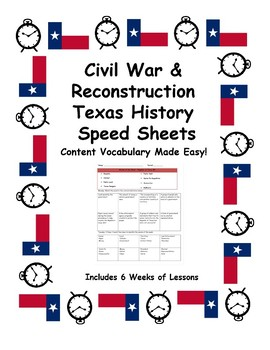 Texas History Speed Sheets: Civil War and Reconstruction