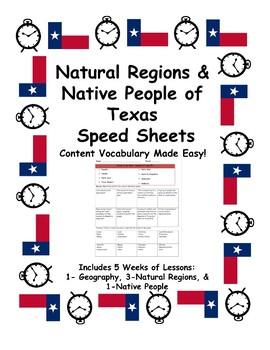 Texas History Speed Sheets: Natural Regions