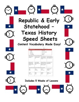 Texas History Speed Sheets: Republic & Early Statehood