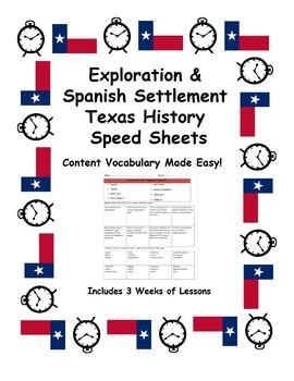 Texas History Speed Sheets: Spanish Era (Exploration & Missions)