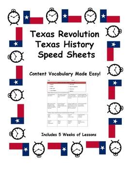 Texas History Speed Sheets: Texas Revolution