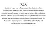 Texas History TEKS 7th Grade