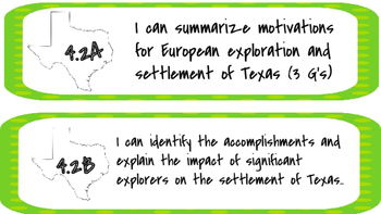 Texas History TEKS I Can Statements (4th grade) - Lime Green