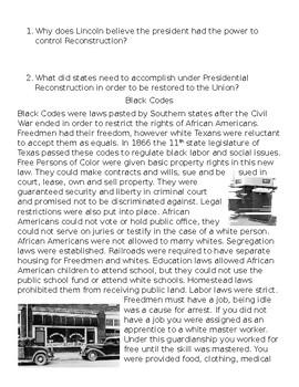 Texas History Talk, Read, Talk, Write - Reconstruction Era