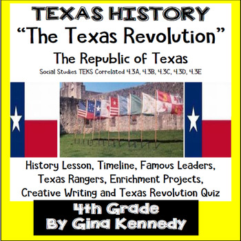 texas revolution unit texas history teks 4 3a b c d and f by gina
