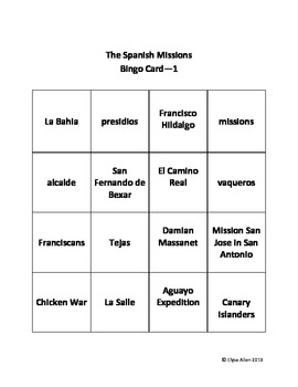 Texas History:  The Spanish Missions Bingo Game Review and Quiz