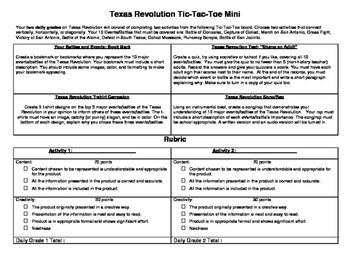 Texas History: The Texas Revolution Tic-Tac-Toe