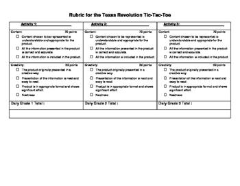 Texas History: The Texas Revolution Tic-Tac-Toe