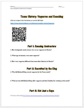 Texas History: Vaqueros and Ranching Webquest