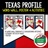 Texas History Word Wall, State Profile, Texas Activities