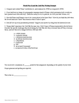 Texas History Writing Prompts and Essay Topics