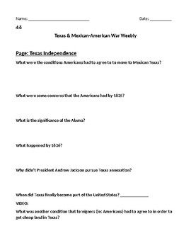 Texas Independence & Mexican American War Webquest Flipped Classroom