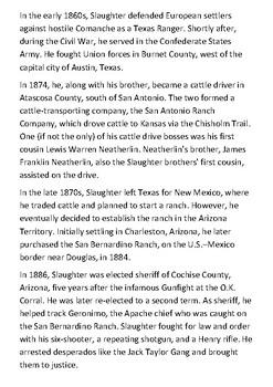 Texas John Slaughter Handout