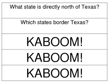 FREEBIE!  Texas KABOOM cards