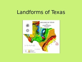 Landform Map Of Texas.Texas Landforms By Brittany Schulze Teachers Pay Teachers