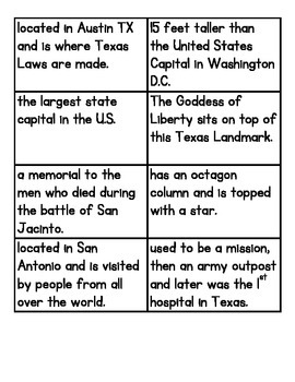 Texas Landmark Sort - CSCOPE/TRS Unit 2 - I am a Texan (Grade 2).