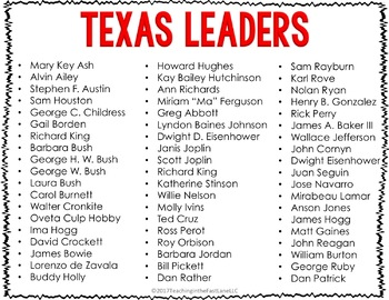 Texas Leaders Book Jacket Project