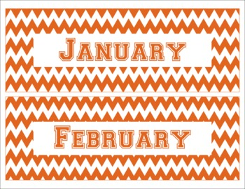Texas Longhorns Inspired Burnt Orange and White Chevron Calendar Pieces