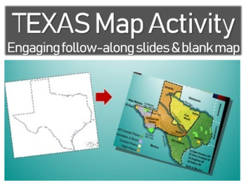 Texas Map Activity: Fun, engaging follow-along 30-slide PPT with handout