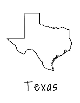 Texas Map Coloring Page Craft - Lots of Room for Note-Taking & Creativity