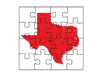 Texas Map Puzzle By AJ Bergs Teachers Pay Teachers - Texas map puzzle