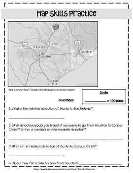 Texas Map Skills Practice