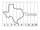 Texas Number Sequence Puzzle.  Learn the States preschool