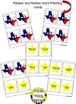 Texas Number and Number Word Cards and Activity