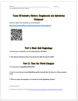 Texas Oil Industry History: Roughnecks and Spindletop Webquest