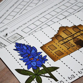 Texas Our Texas: First Grade Number Puzzles up to 120 (English & Spanish)